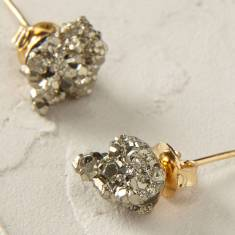 Pyrite Cubic Cluster Earrings