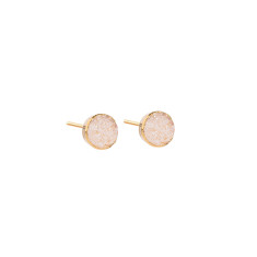 Mini Circle Natural Drusy Stud Earrings