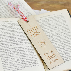 Personalised Clever Clogs Wooden Bookmark