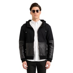 Black Trent half leather hooded jacket