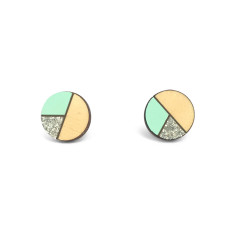 Circle geometric earrings in mint and silver glitter