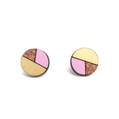 Circle geometric earrings in baby pink and bronze glitter