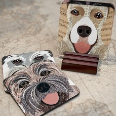 Close up dog coasters (set of 4) - 54 dog breeds available