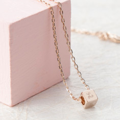 Personalised Dice Necklace for Kids with initial engraving