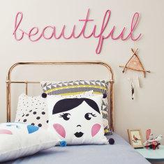 Babushka Doll Kids' Cushion in Plum