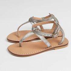 Como girls' silver snakeskin sandals
