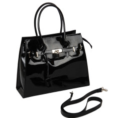 Cherry leather tote in black
