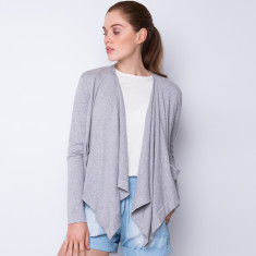 Draped open front cardigan - light grey