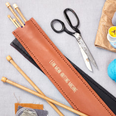 Tan personalised knitting needle holder