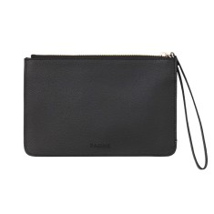 Fine leather clutch in black