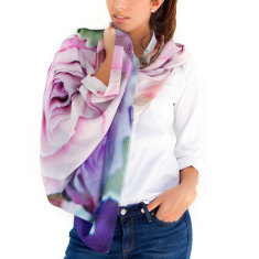 Ladies Printed Cashmere Silk Scarf, Pastel Roses