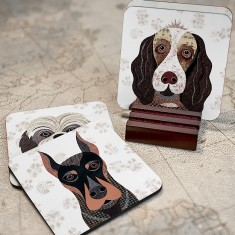 Pawtraits dog coasters (set of 4) - 54 dog breeds available