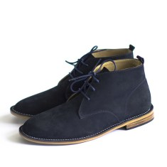 Desert navy leather boots
