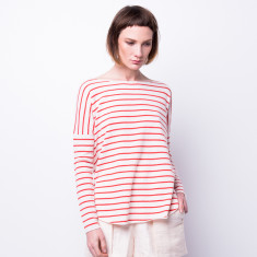 Drop shoulder striped pullover in blood orange