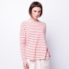 Drop shoulder striped pullover in blood orange