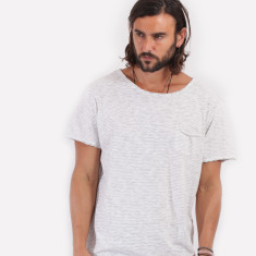 Stripe pocket white t-shirt