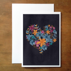 Floral heart card (various colours)