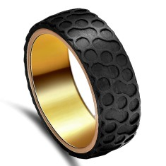 Personalised V-Force Carbon Fibre and Gold Plated Titanium Ring