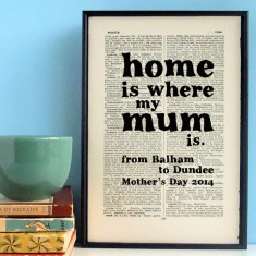 Home is where my mum is personalised Mother's Day print