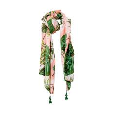Tassel scarf ferns pink