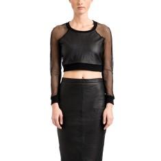 Black mesh leather crop top