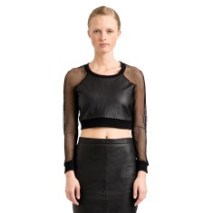 Black Ellie mesh leather crop top