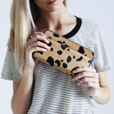 Delilah leather wallet in wild cat