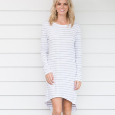 Long sleeve organic cotton dress in grey stripe