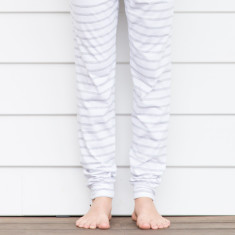 Organic cotton slouch pants grey stripe