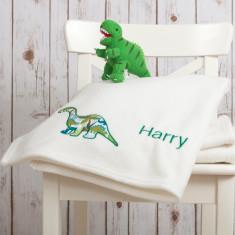 Personalised dinosaur baby blanket