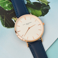 Personalised Leather Elie Beaumont Watch in Navy