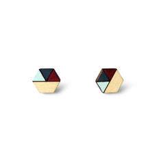 Hexagon geometric earrings in burgundy, dusty blue and baby blue
