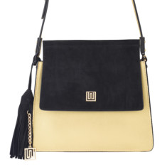 Mademoiselle medium suede & leather shoulder bag - Gold