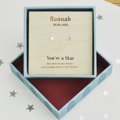Personalised You're a Star Sterling Silver Stud Earrings