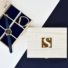 Monogram Personalised Wooden Watch Box {quality issues}