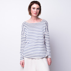 Drop shoulder striped pullover