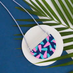 Tropics necklace in navy, aqua, neon pink and silver glitter