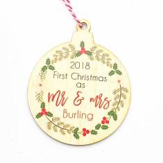 Personalised 2018 newly weds couple Christmas Tree Decoration