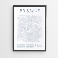 Brisbane outline map print