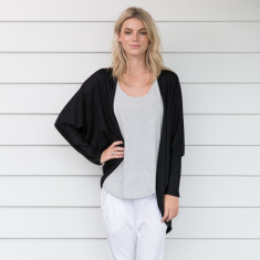 Merino Wool Cardigan in Black
