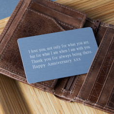 Personalised keepsake wallet insert