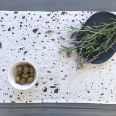 Charcoal Ink Splatter linen table runner