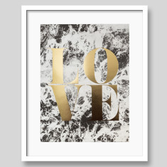 Love Gold Foil Typography Art Print