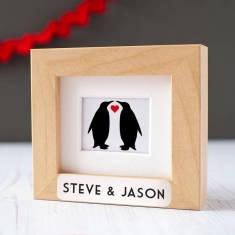 Personalised Animal Couple Framed Miniature Print