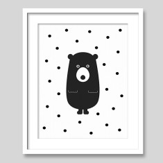 Bear With Dots Scandi Style Nursery Art Print
