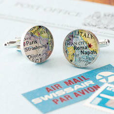 Personalised location sterling silver map cufflinks