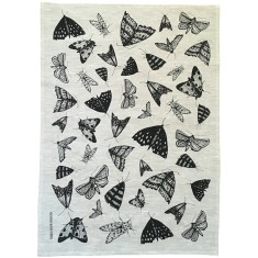 Black Moths linen tea towel (natural or off-white)