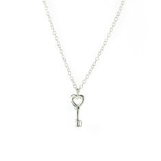 Key to success sterling silver and rose gold necklace