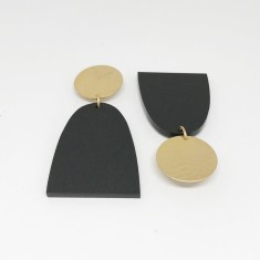 Matt Black Acrylic and Brass Dome Drop Earrings