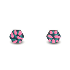 Tropics hexagon earrings in navy, aqua and neon pink